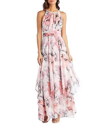 R & M Richards Petite Size Keyhole Neck Sleeveless Floral Chiffon Maxi Dress