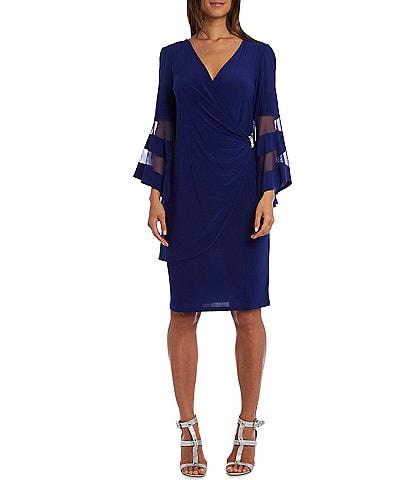 R & M Richards Petite Size Mesh Trim 3/4 Bell Sleeve V-Neck Jersey Faux Wrap Dress