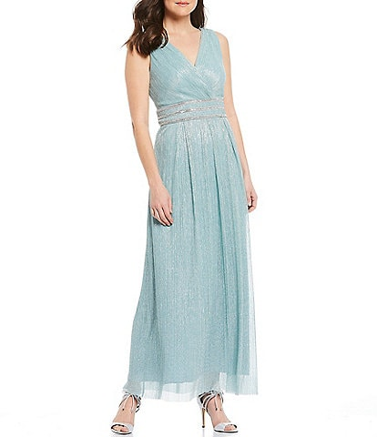 R & M Richards Petite Size Pleated V-Neck Sleeveless Metallic Gown