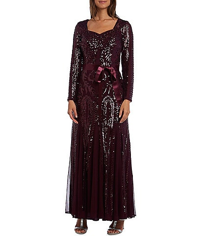 R & M Richards Petite Size Sequin Embroidered Mesh Long Sleeve Gown