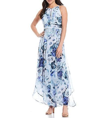 R & M Richards Petite Size Sleeveless Halter Neck Keyhole Front Floral Chiffon Dress