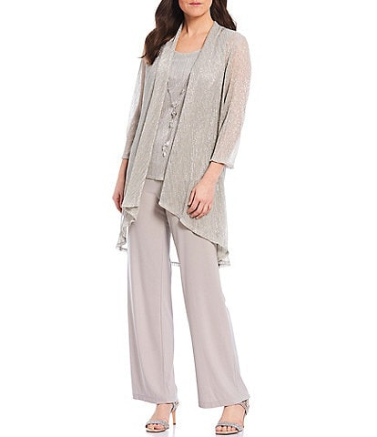 R & M Richards Pleated Metallic 2 Piece Pant Set