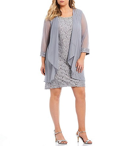 R and M Richards Silver Plus Size Mother of the Bride ...