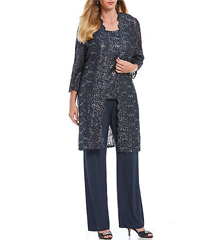 R & M Richards Plus Scallop Glitter Lace Duster 3 Piece Pant Set