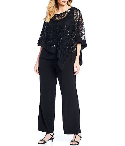 R & M Richards Plus Size 2-Piece Poncho Pant Set