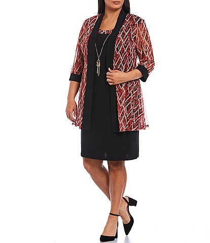 R & M Richards Plus Size Abstract Chevron Print Knit Jersey 3/4 Sleeve Two Piece Jacket Dress