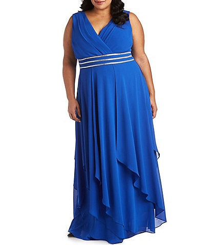 R & M Richards Plus Size Beaded Waist V-Neck Chiffon Gown