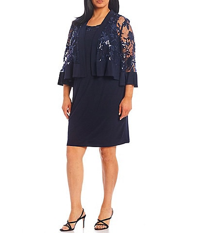 R & M Richards Plus Size Embroidered Sequin Bell Sleeve 2-Piece Jacket Dress