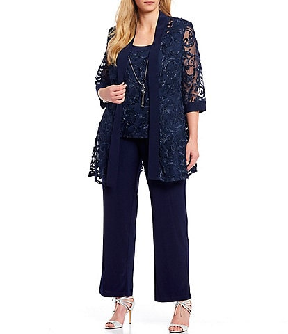 R & M Richards Plus Size Embroidered Soutache Mesh Lace 3 Piece Pant Set