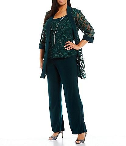 R & M Richards Plus Size Scoop Neck 3/4 Sleeve Embroidered Soutache Mesh Lace 3-Piece Pant Set