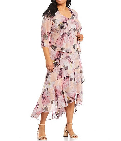 R & M Richards Plus Size Floral Chiffon 2-Piece Jacket Dress