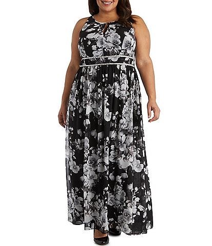 R & M Richards Plus Size Floral Printed Sleeveless Chiffon Dress