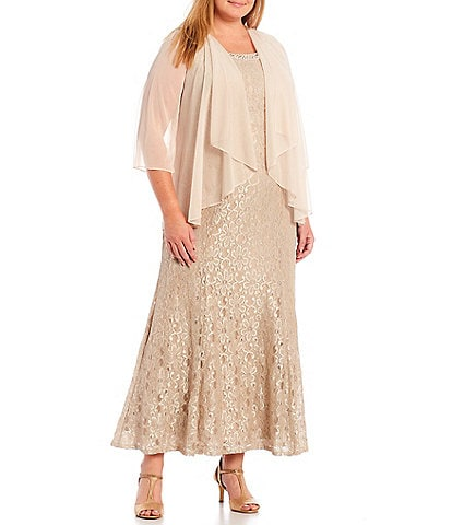 R & M Richards Plus Size Glitter Lace Beaded Round Neck 3/4 Sleeve 2-Piece Jacket Gown