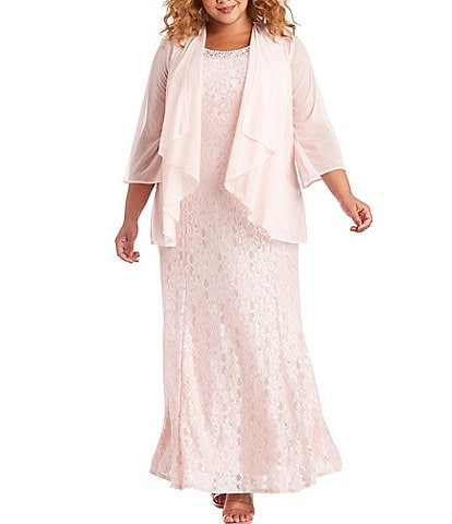 R & M Richards Plus Size Glitter Lace Beaded Neck Sleeveless 2 Piece Jacket Gown