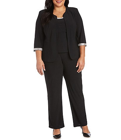 R & M Richards Plus Size Jersey Knit Rhinestone 3-Piece Pantsuit