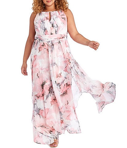 R & M Richards Plus Size Keyhole Neck Sleevless Floral Chiffon Maxi Dress