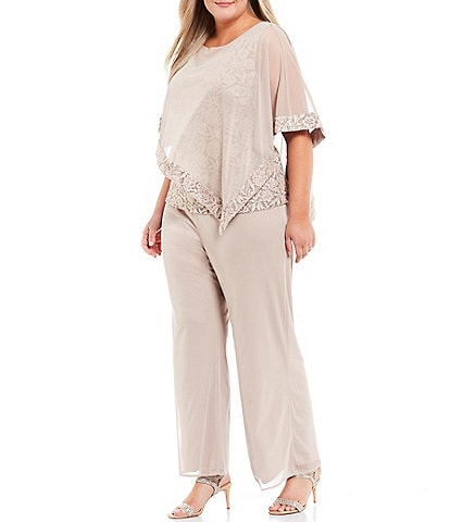 R & M Richards Plus Size Lace Chiffon Poncho Mock 3 Piece Pantsuit