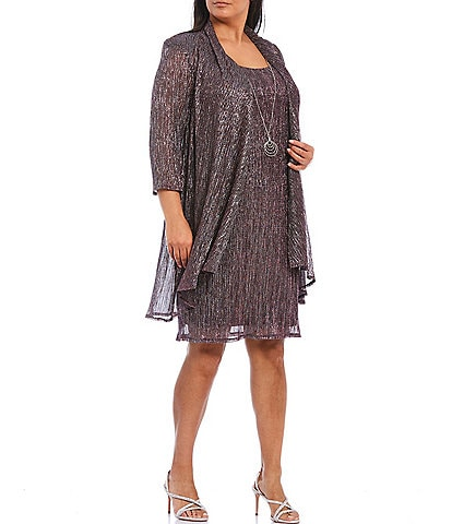 R & M Richards Plus Size Metallic Knit 2 Piece Jacket Dress