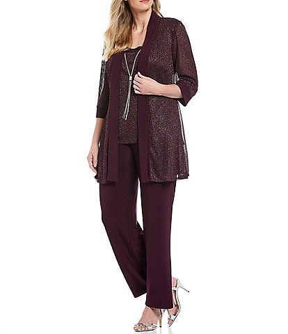R & M Richards Plus Size Metallic Ribbed Knit Mock 2-Piece Pant Set