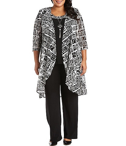 R & M Richards Plus Size Printed Matte Jersey 3 Piece Duster Pant Set