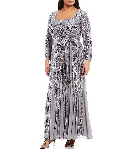 R & M Richards Plus Size Sequin Embroidered Mesh Sweetheart Long Sleeve Godet Inset Detail Gown