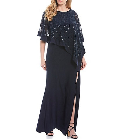 R & M Richards Plus Size Sequin Lace Poncho Overlay Gown