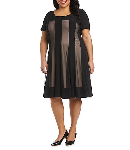 R & M Richards Plus Size Short Sleeve Contrasting Power Mesh Fit & Flare Dress