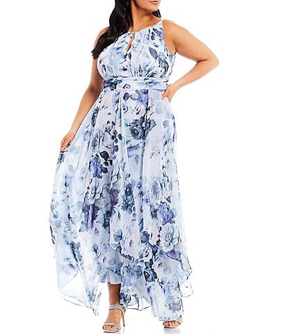 R & M Richards Plus Size Sleeveless Halter Neck Floral Chiffon Dress