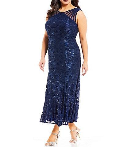 R & M Richards Plus Size V-Neck Sleeveless Lace Mermaid Dress