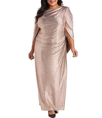 R & M Richards Plus Size Stretch Crinkled Foil Ruched Waist Drape Back Dress