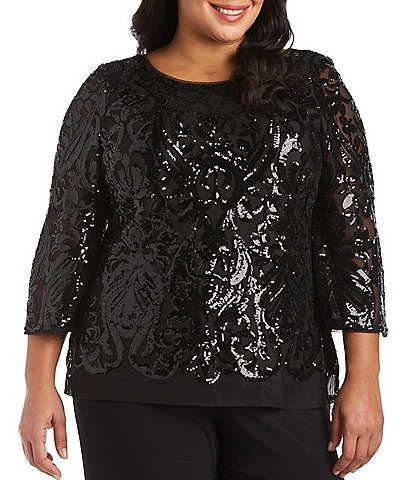 R & M Richards Plus Size Stretch Power Mesh Sequined 3/4 Sleeve Top
