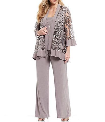 R & M Richards Plus Size Swirl Sequin Jacket 3-Piece Pant Set