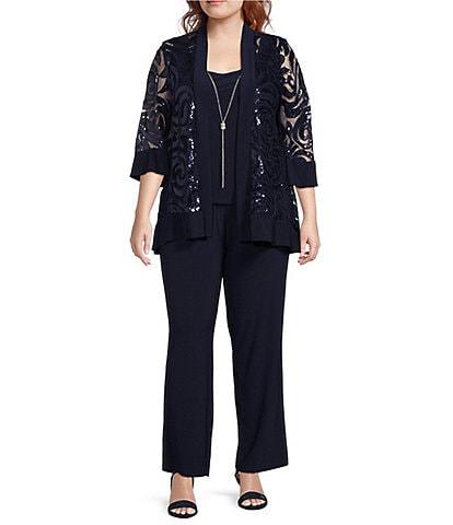 R & M Richards Plus Size Scoop Neck 3/4 Sleeve Swirl Sequin Jacket 2-Piece Pant Set