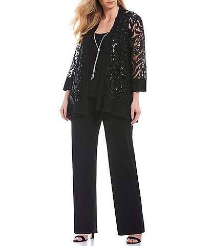 R & M Richards Plus Size Swirl Sequin Jacket 3-Piece Pant Set
