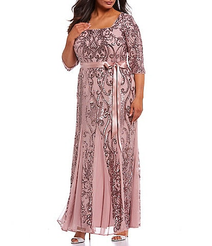 R & M Richards Plus Size Tie Waist 3/4 Sleeve Sequin Gown