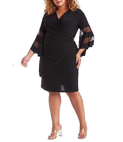 R & M Richards Plus Size V-Neck Faux Wrap Sheer Illusion Bell Sleeve Rhinestone Brooch Detail Knit Jersey Dress