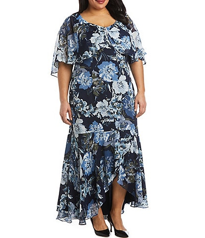 R & M Richards Plus Size V-Neck Floral Hi-Low Capelet Dress