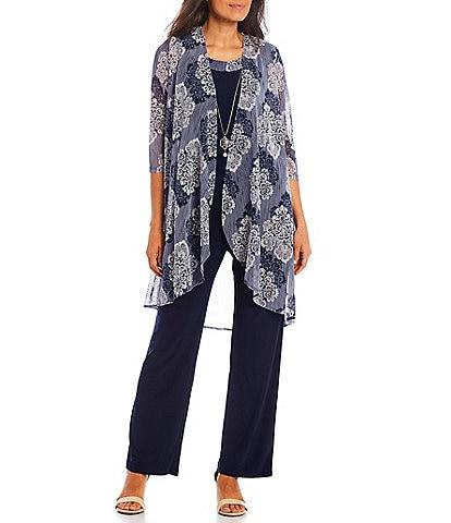 R & M Richards Printed Flyaway Duster Mesh Jewel Neck 3/4 Sleeve Knit 3-Piece Pantsuit
