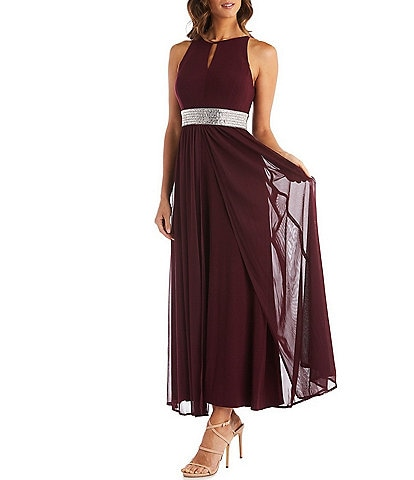 R & M Richards Rhinestone Waist Keyhole Neck Long Dress