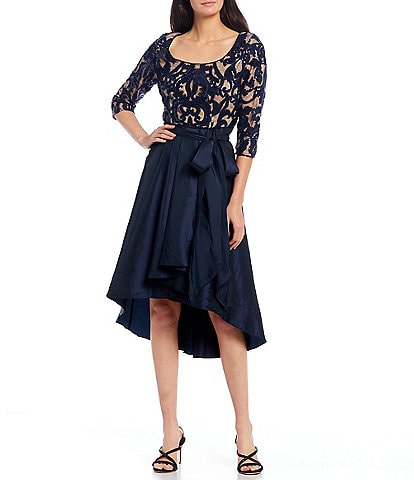 R & M Richards Scoop Neck 3/4 Sleeve Sequin Lace Taffeta Hi-Low Gown