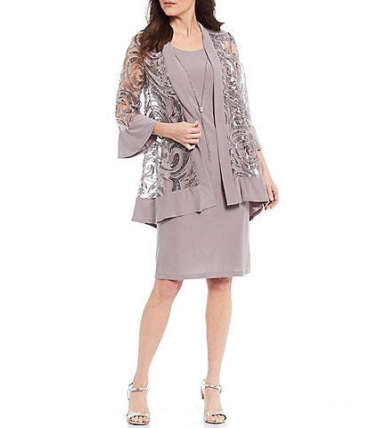 R & M Richards Sequin Jersey 2-Piece Jacket Dress