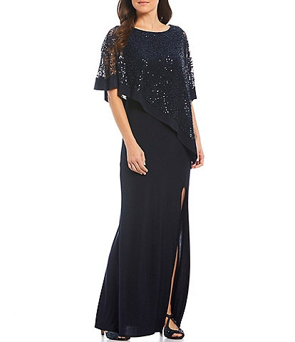 R & M Richards Sequin Lace Poncho Overlay Front Slit Gown