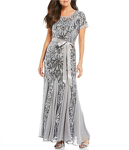 R & M Richards Sequin Lace Short Sleeve Godet Hem Long Gown