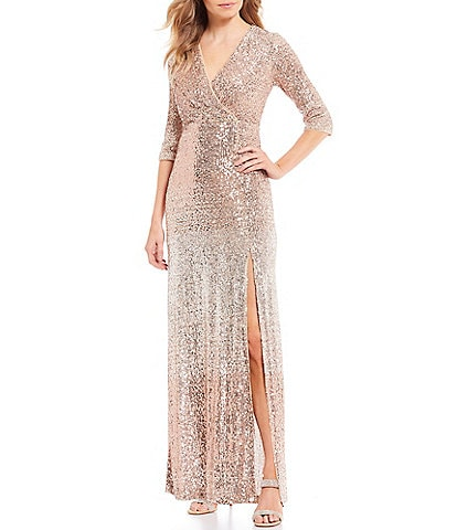 R & M Richards Sequin Ombre 3/4 Sleeve Front High Slit Gown