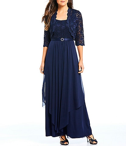 R & M Richards Sequined Lace & Chiffon 2-Piece Jacket Dress