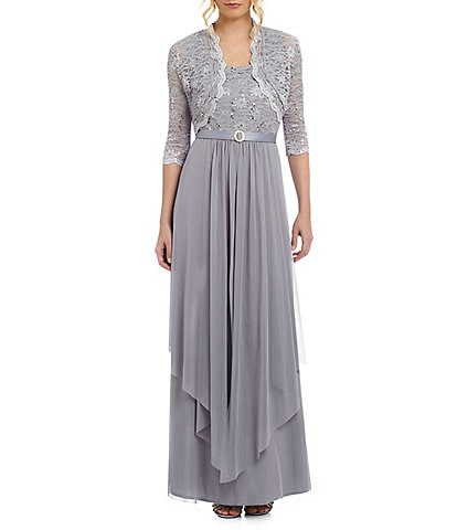 61c84528b R & M Richards Sequined Lace & Chiffon Jacket Dress