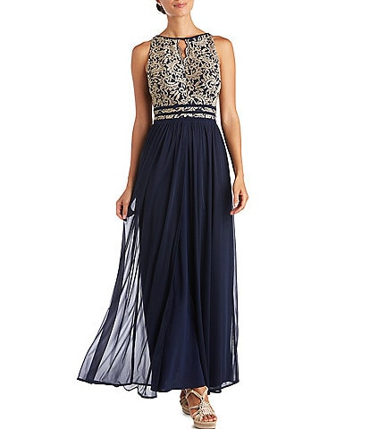 R & M Richards Sleeveless Glitter Lace Keyhole Halter Dress