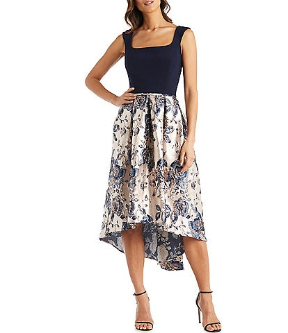 R & M Richards Square Neck Two-Tone Metallic Floral Brocade Hi-Low Sleeveless Dress