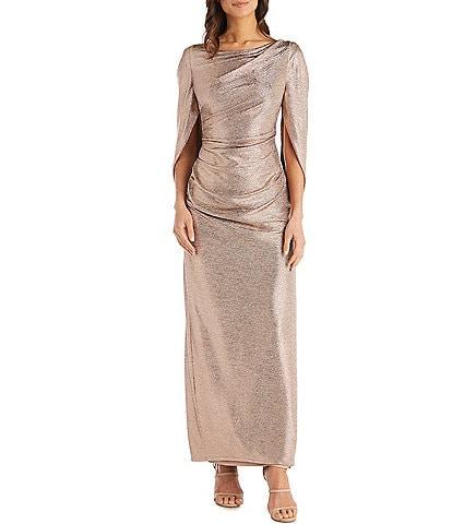 R & M Richards Stretch Crinkled Foil Ruched Waist Drape Back Dress