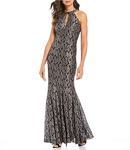 R & M Richards Stretch Glitter Lace Halter Scallop Keyhole Mermaid Gown